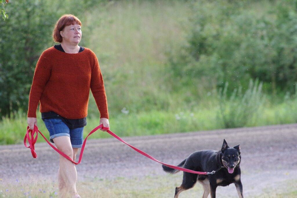 Bilden visar mig och min hund på promenad. Jag har den rostbruna stickade tröjan och jeansshorts på mig. Kopplet är rött. Hunden är svart (black and tan).